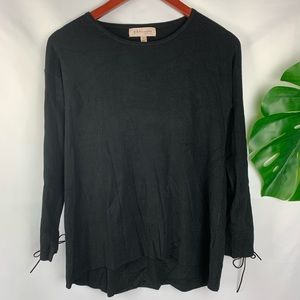 NWT Philosophy | Black Lace Tie Long Sleeve Tunic